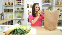 Healthy Caucasian Girl Unpacking Fresh Organic Produce Stock Footage