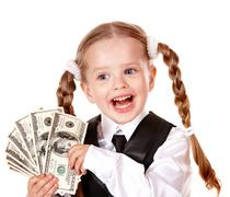 Stock Photo of happy child with money dollar.