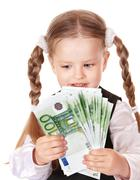 Stock Photo of happy child with money euro.