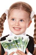 Stock Photo of happy little girl with money euro.