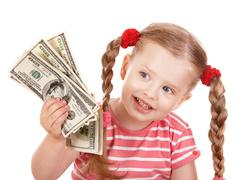Stock Photo of happy child with money dollar.