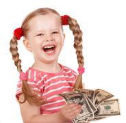 happy child with money dollar. - stock photo