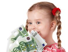 happy child with money euro. - stock photo