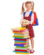 child with stack book. - stock photo