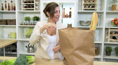 Caucasian Businesswoman Shopping Fresh Fruit Bread Stock Footage
