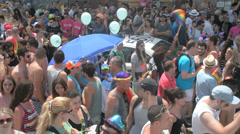 Huge crowd during pride parade Stock Footage