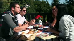 Two couples eating cold cuts for lunch in nature lunch Stock Footage