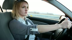 Close up of a woman driving a car Stock Footage