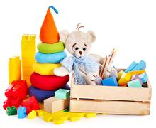 children toys with teddy bear and cubes. - stock photo