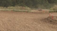 Stock Video Footage of motocross rider cornering
