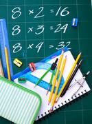 multiplication table on board - stock photo