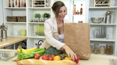 Caucasian Businesswoman Shopping Bag Fresh Produce Stock Footage