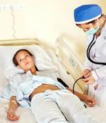 measurement pressure blood of woman. - stock photo