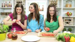 Healthy Living Caucasian Females Fresh Vegetarian Food - stock footage