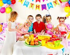 Children happy birthday party . Stock Photos
