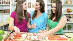 Healthy Caucasian Family Females Fresh Organic Produce - stock footage