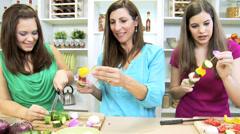 Teenage Girls Mother Kitchen Preparing Fresh Vegetables Stock Footage