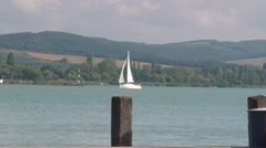 Balaton lake ship Stock Footage