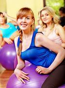 Women in aerobics class. Stock Photos