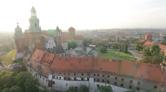 Aerial View of Wawel Royal Castle in Cracow Stock Footage