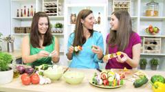 Healthy Caucasian Family Females Fresh Organic Produce Stock Footage