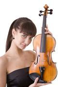 beautiful young girl with fiddle. - stock photo
