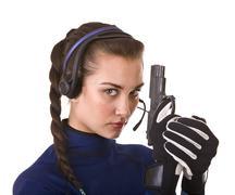 Girl with gun support customer. Stock Photos