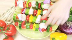 Close Up Hands Caucasian Female Fresh Vegetable Kebabs Stock Footage