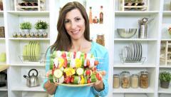 Portrait Caucasian Female Plate Healthy Kebabs Stock Footage