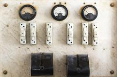 vintage fuse box and switch - stock photo