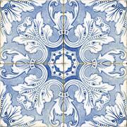 vintage portuguese blue tiles - stock photo