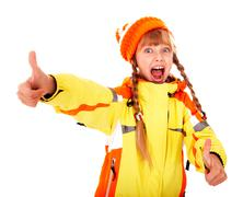 Girl in autumn orange hat with thumb up. Stock Photos