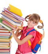 Stock Photo of child with pile of books.