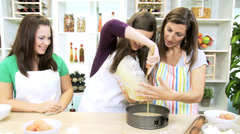 Caucasian Females Kitchen Baking Homemade Cakes Stock Footage