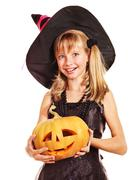 witch children at halloween party. - stock photo