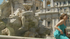 Fontana dei Quattro Fiumi on Piazza Navona 12 (slomo dolly) Stock Footage