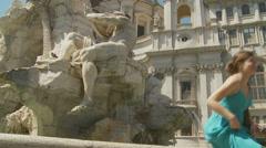 Fontana dei Quattro Fiumi on Piazza Navona 12 (slomo dolly) Stock Footage