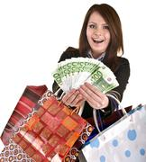 Stock Photo of business woman with money, gift, box, bag.