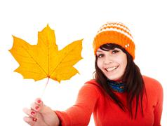 Girl in autumn orange maple leaf. fall discount. Stock Photos