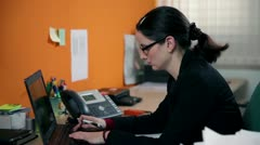 Close up on business woman typing on PC Stock Footage