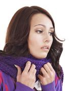 young woman with handkerchief having  cold. - stock photo