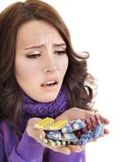 Girl having flu taking pills Stock Photos