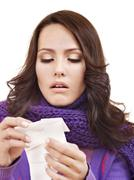 sick woman with handkerchief having  cold. - stock photo