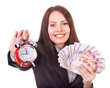 Woman with  money .russian rouble. Stock Photos