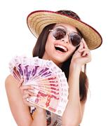 Woman with  money . Stock Photos