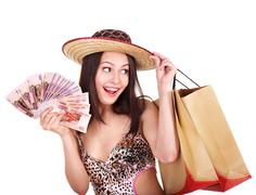 Woman with  money and shopping bag. Stock Photos