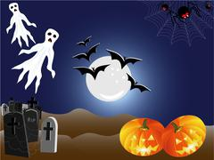 Halloween Landscape Seasonal Scene - stock illustration