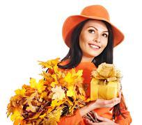 Woman holding  orange handbag. Stock Photos