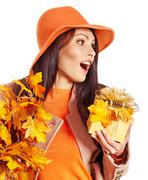 Woman holding  orange handbag. Stock Photos