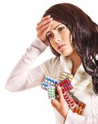 Woman with headache take pills and tablets. Stock Photos